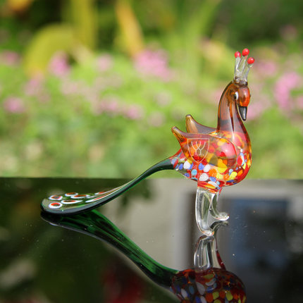 Oselif new 3d peacock mascot standing cute glass crafts gift oselif new 3d peacock mascot standing cute glass crafts gift box business gift wedding decoration home decor in statues sculptures from home garden junglespirit Images