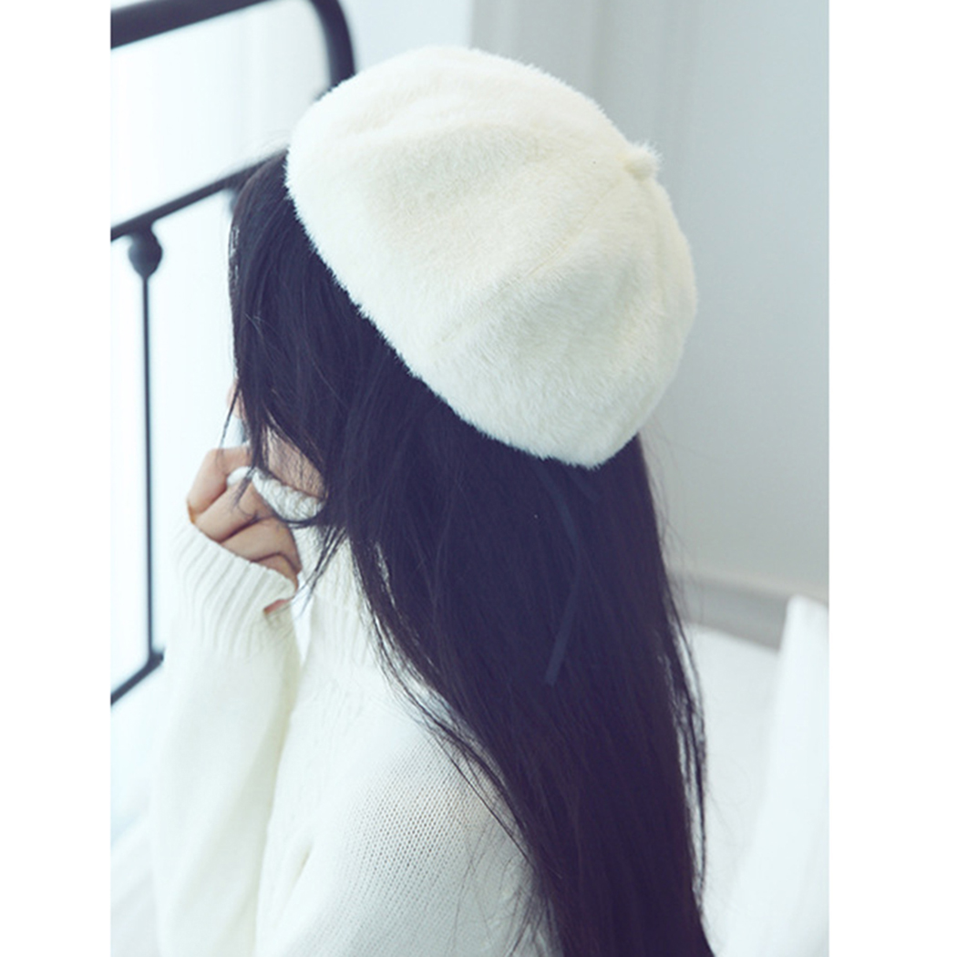 01f84a862b4 England Hairy Wool Beret Hat Women French Cap 2018 Autumn Winter Knitted  Warm Baret Caps Boina Korean Ladies Solid Painter Hats-in Berets from  Apparel ...