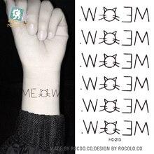 HC-213 Body Art Sex Products Women Kitty Cat Shoulder Finger Water Transfer Temporary Fast Flash Fake Tattoos Sticker Taty