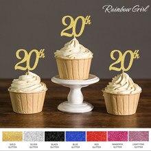 Paletas de decoração para bolo, acessórios de bolo, ouro/prata/preto com glitter 20ª palhetas para decoração de festas de aniversário