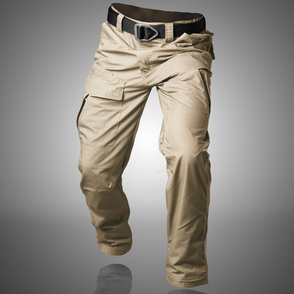 Waterproof War Game Cargo Pants Mens Silm Outdoor Pants Side Zipper