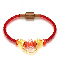 Lucky New Year Solid 24K Yellow Gold Crown coloured glaze Knitted Beads Bracelet 2.5g