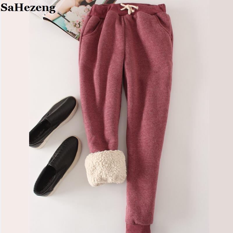 SaHezeng Thick Velvet Warm Pants Trousers Women 2017 Winter Casual Drawstring Elastic Waist Pants Loose Solid Sweatpants P22-1