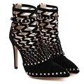 2017 Nova Moda Rebite Sandálias Gladiador Das Mulheres de salto alto sandálias sapatos bombas 12 CM alto-sapatos de salto alto das mulheres grande tamanho 40