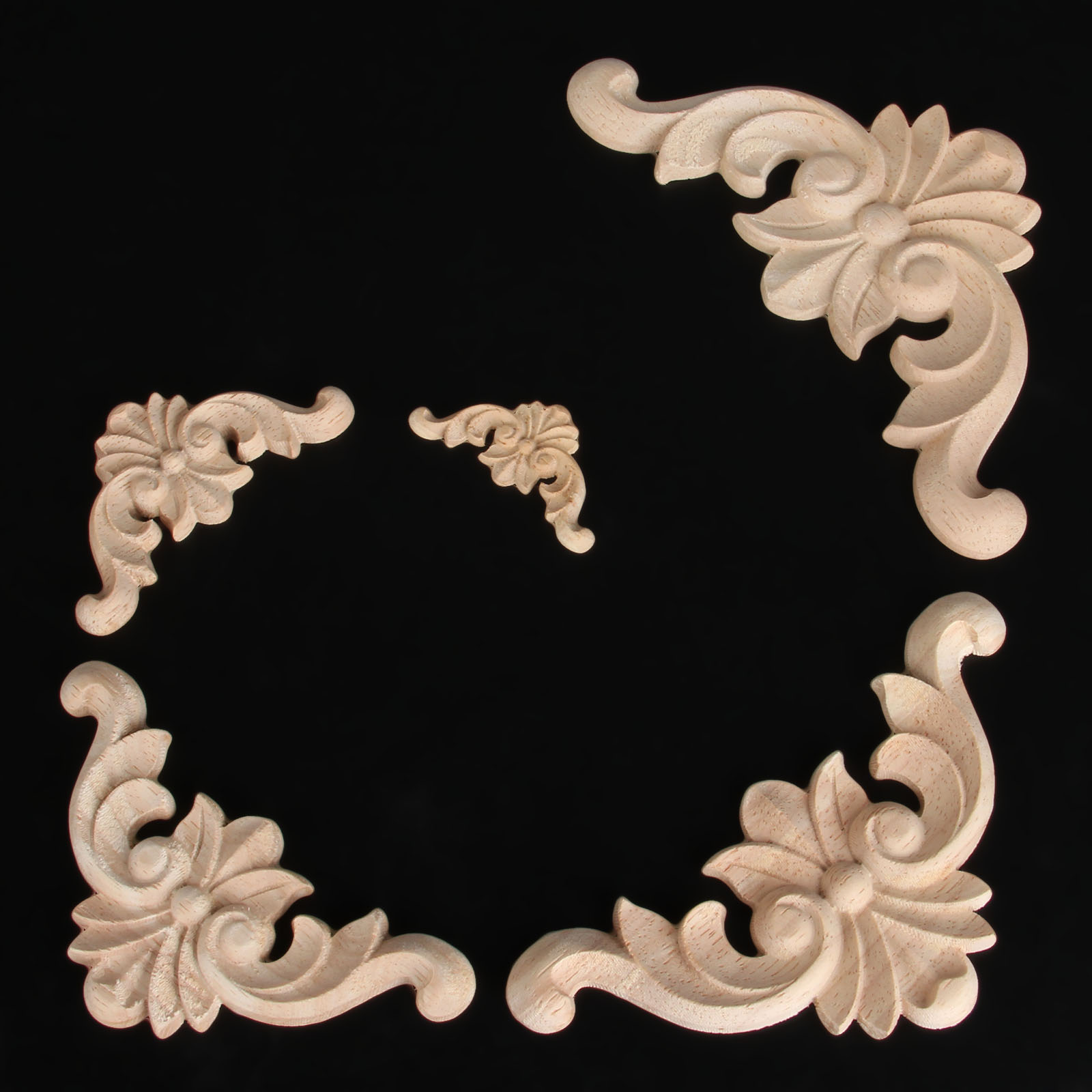 4Pc 4 6 8 10 12cm Woodcarving Decal Corner Wood Carved Furniture Decorative Figurine Wood Miniatures Home Decor for Cabinet Door in Figurines Miniatures from Home Garden