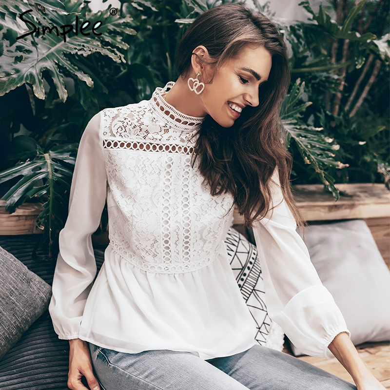 Simplee Elegant hollow out lace embroidery women   blouse     shirt   Long sleeve chiffon white   blouse   Summer casual peplum top   shirt