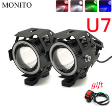 U7 Motorcycle Headlight Angel Eyes Head Lamp LED Waterproof Fog Light For kawasaki versys 650 z900 z1000 suzuki 650 africa twin