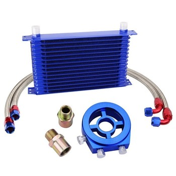 evil energy 15Row 10AN Engine Oil Cooler Kit+1.2M/1.0M Swivel Fuel Hose Line+Oil Adapter Filter Cooler Plate