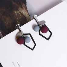 2017 trendy fashion temperament of south Korean women  earrings geometric round ball more than