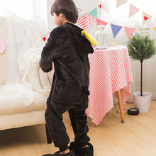 Kids Animal Onesie Penguin Pajama Black Flannel Long Sleeve With Hooded Sleepwear Winter Warm Soft Children Boy Girl Party Suit