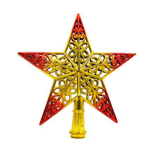 Cute Colorful Christmas Tree Top Sparkle Hang Xmas Decoration Ornament Treetop Topper Dimensional hollow five-pointed stars(China)