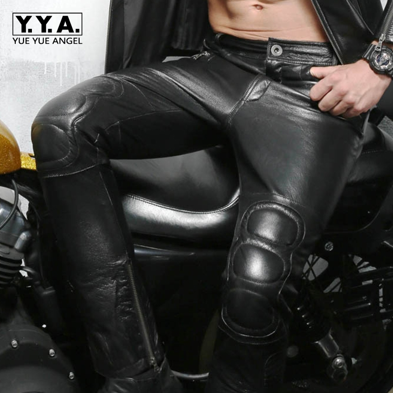 New Arrival Hot Sale Brand High Quality Mens Motorcycle Biker Long Pants Zipper Mid Waist Genuine Leather Sheepskin Plus Size
