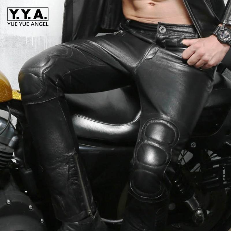 New Arrival Hot Sale Brand High Quality Mens Motorcycle Biker Long Pants Zipper Mid Waist Genuine Leather Sheepskin Plus Size
