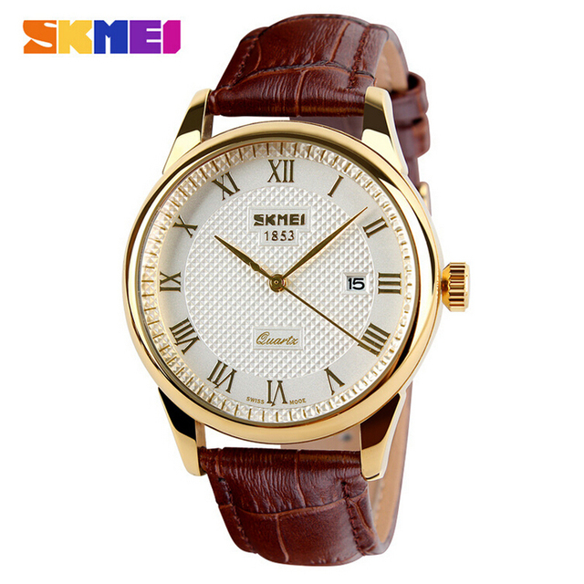Mens Relógios Top Marca de Luxo Relógio de Quartzo Moda Couro Genuíno Marca 30 m À Prova D' Água Casual Vestido de Pulso reloj hombre