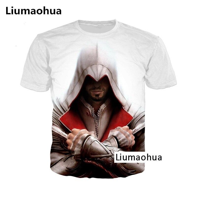 Galleria fotografica Liumaohua Più Nuovo Modo Harajuku Hot <font><b>Assassins</b></font> <font><b>Creed</b></font> Gioco T Shirt Stampa 3D T-Shirt Unisex <font><b>Black</b></font> <font><b>Flag</b></font> Tops t shirt top