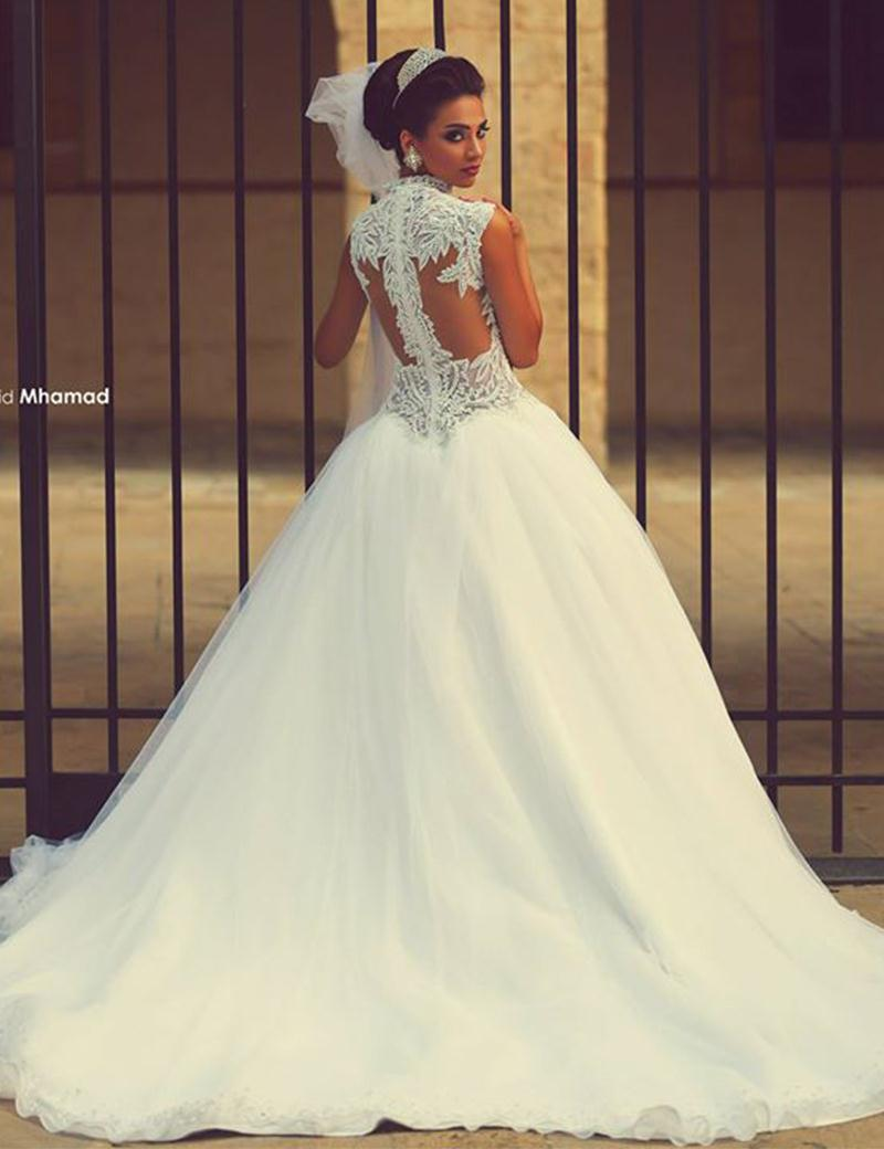 Beautiful Ball Gown Princess Wedding Dress Puffy Sweetheart Beaded Tank Sleeveless Sheer Back Bridal 20162016 In Dresses From Weddings