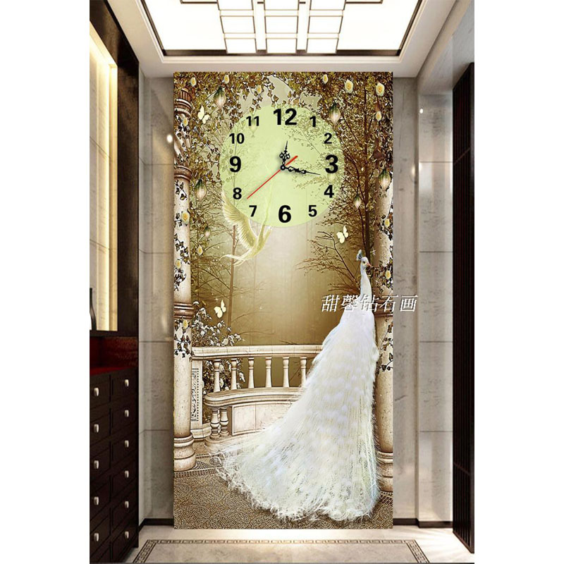 The Modern European Style Living Room Full Square Diamond Painting Cross Stitch White Peacock Dial Clock