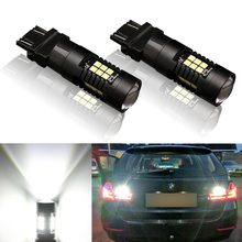 2pcs T25 3157 Led Bulb P27 7W High Power 21 3030SMD Auto Led Light Car Stop Brake Turn Signal Light White Yellow Amber Red(China)