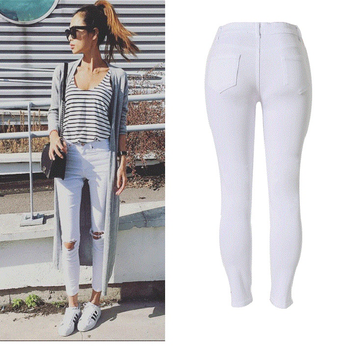 799c7d92017 New Fashion Ladies White Ripped Jeans Women Skinny High Waist Jeans ...