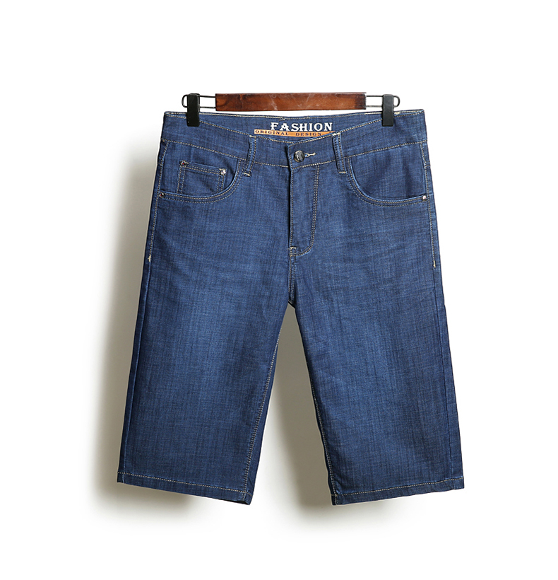 KSTUN Summer Denim Shorts Jeans Men Blue Slim Straight Business Casual Knee Length Shorts High Quality Elastic Brand Clothes 38 16