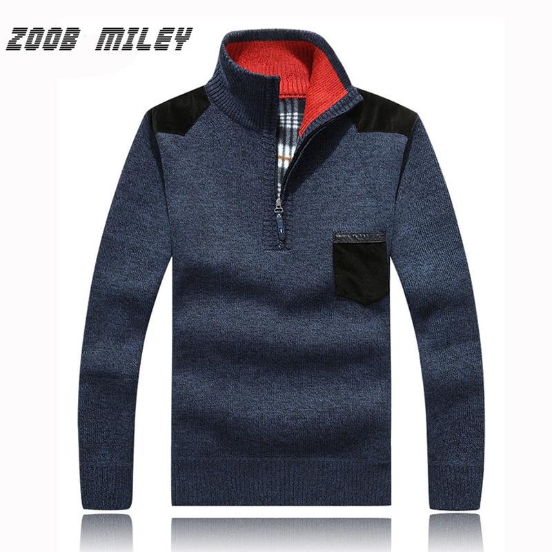 ZOOB MILEY Mens Sweaters Winter Thick Warm Zipper Pullovers Fleece Velvet Inside Man Casual Sweater Jumpers Plus Size M-XXXL