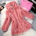Women long-sleeve Rex Rabbit Fur coat medium-long slim plus size with a hood Real Rabbit Fur Outwear