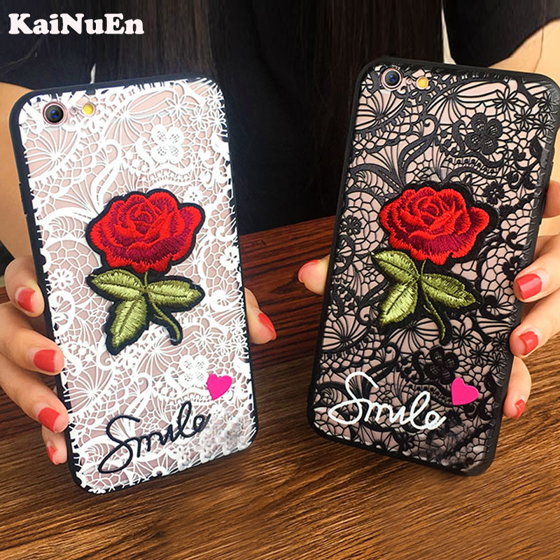 KaiNuEn luxury cute Fashion Rose Flower PC Phone cover coque case For apple iphone 7 plus 7plus iphone7plus Sexy Woman Lace Back