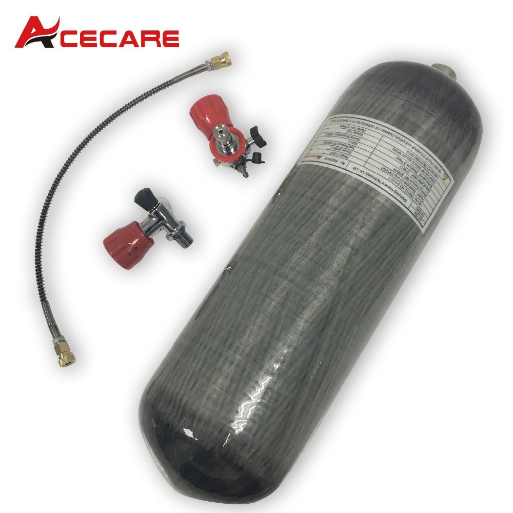 AC109101 9L CE Carbon Fiber Scuba Diving Tank 30Mpa 4500Psi Tank High Pressure Cylinder Diving Quick Release Coupling Dive Tank