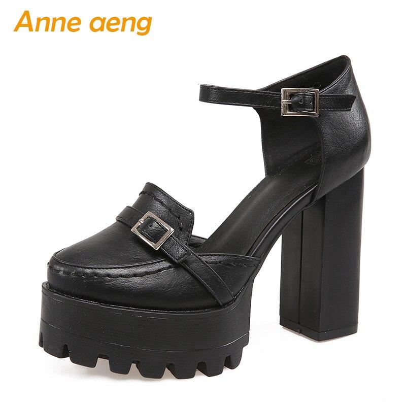 2018 été femmes sandales haut carré talon plate-forme boucle sangle sexy lady Mary Janes doux noir blanc bout rond femmes shose