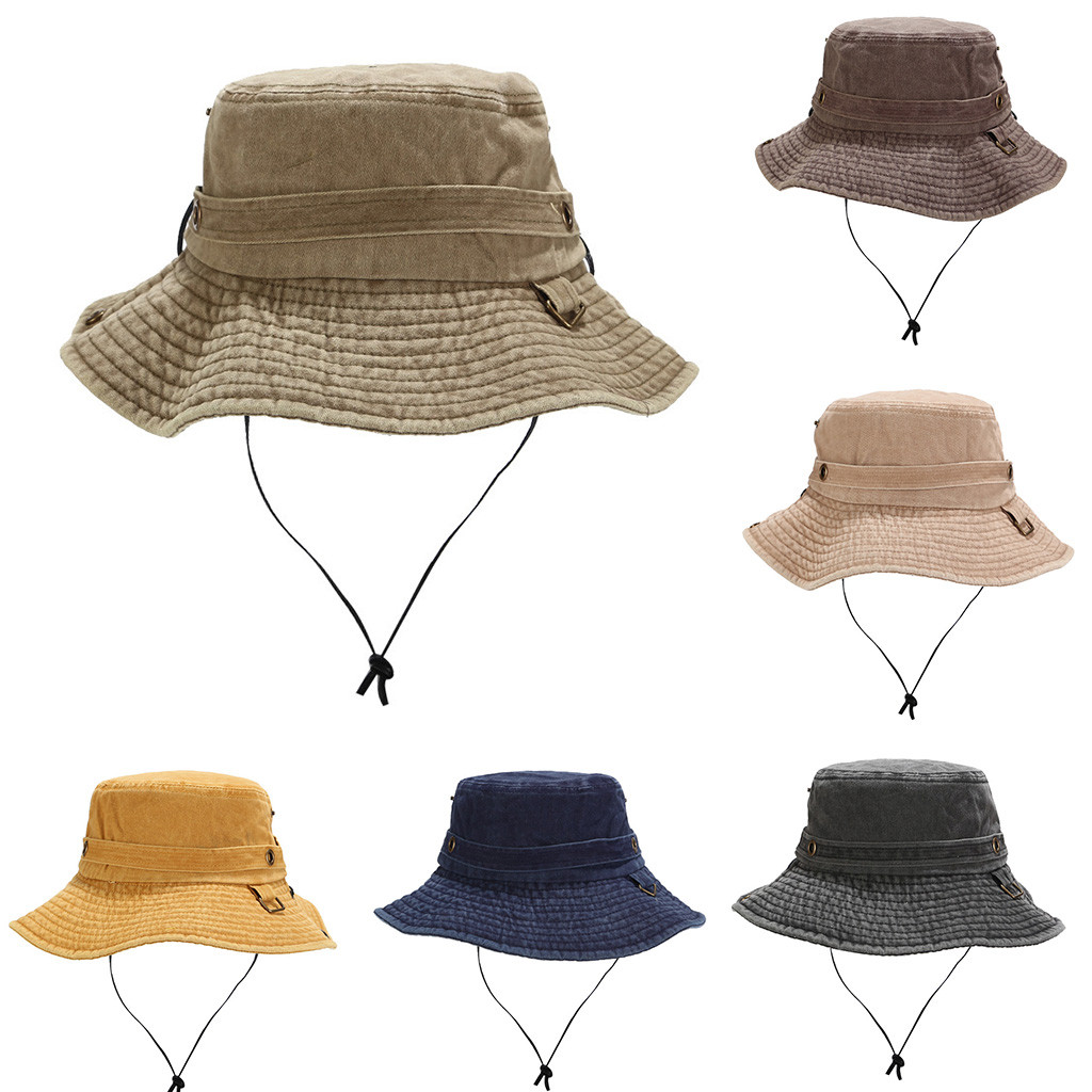 Summer Outdoor Riding Anti-UV Sun Hat Women/men Unisex Beach Sunscreen Cap Solid Fishing Hat Protection Bucket Boonie Cap