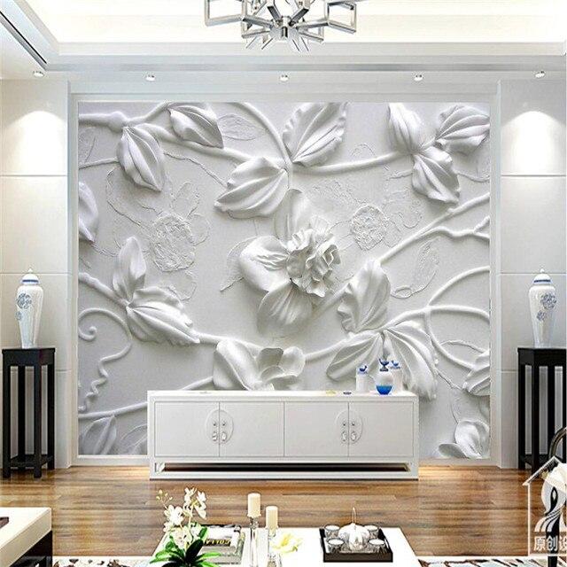 Wandbild Für Wohnzimmer HD Geprägte Weiß Blumen Murales De Pared Tapete  Hotel Hintergrund Moderne Große Malerei