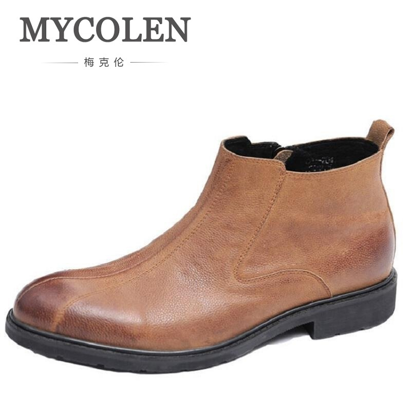 MYCOLEN Autumn Winter Men Luxury Boots Leather Casual Ankle Boots Height Increasing Rubber Zip Men Shoes Sapato Social Masculino
