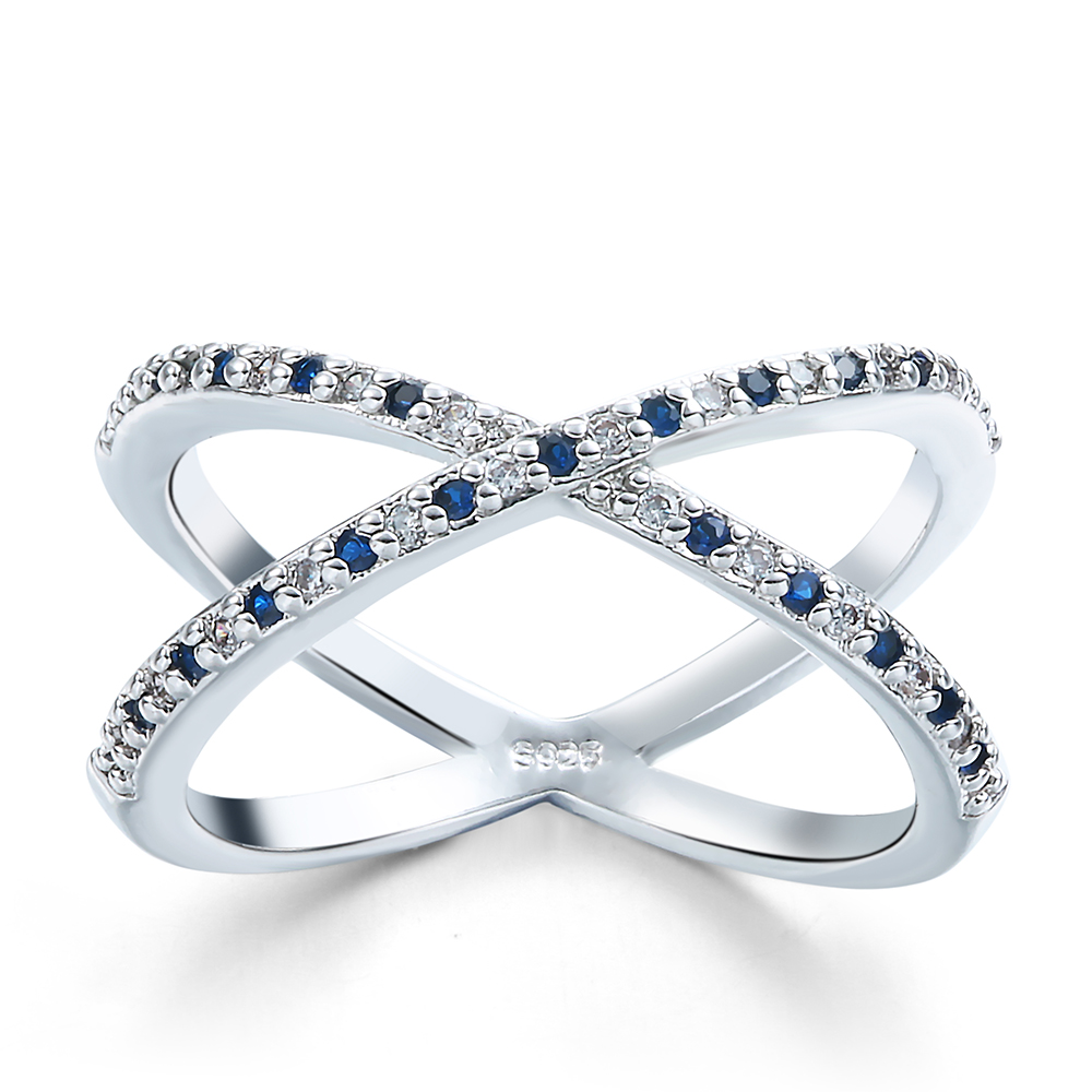 Mujeres baratas tierra tellurion azul blanco suplente de lujo Anillos de Compromiso cz diamante dama de