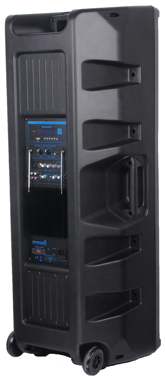 staraudio dual pro 5000W dual 15 powered pa stage speaker usb sd bluetooth led light 2ch vhf wireless microphone system