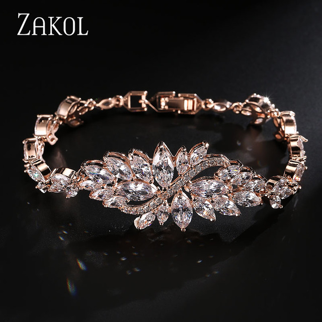 ZAKOL Rose Gold Plated Luxury Marquise Cut Cubic Zircon Charm Multicolor Crystal Flower Bracelets & Bangles For Women FSBP007