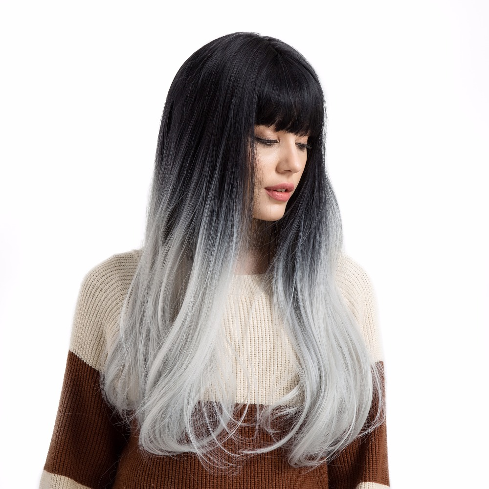 BLONDE UNICORN 18 Inch Long Straight Synthetic Women Hair Wig with Bangs Two Tones Black Root Ombre Grey Female Cosplay Wig