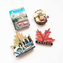 3D Resin Handmade Banff Toronto Victoria Canada Travel Tourist Souvenirs Fridge Magnet Maple Leaf Refrigerator Magnetic Stickers(China)