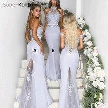 SuperKimJo Vestido Longo Silver Bridesmaid Dresses Long 2019 Cheap Mermaid Lace Applique High Neck Wedding Guest Dress