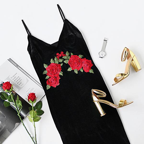 Floral Embroidered Black Velvet Cami Dress