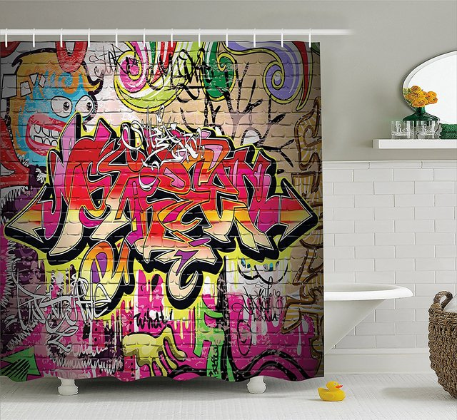 Rustic Home Decor Shower Curtain Graffiti on Wall Urban Street Art ...