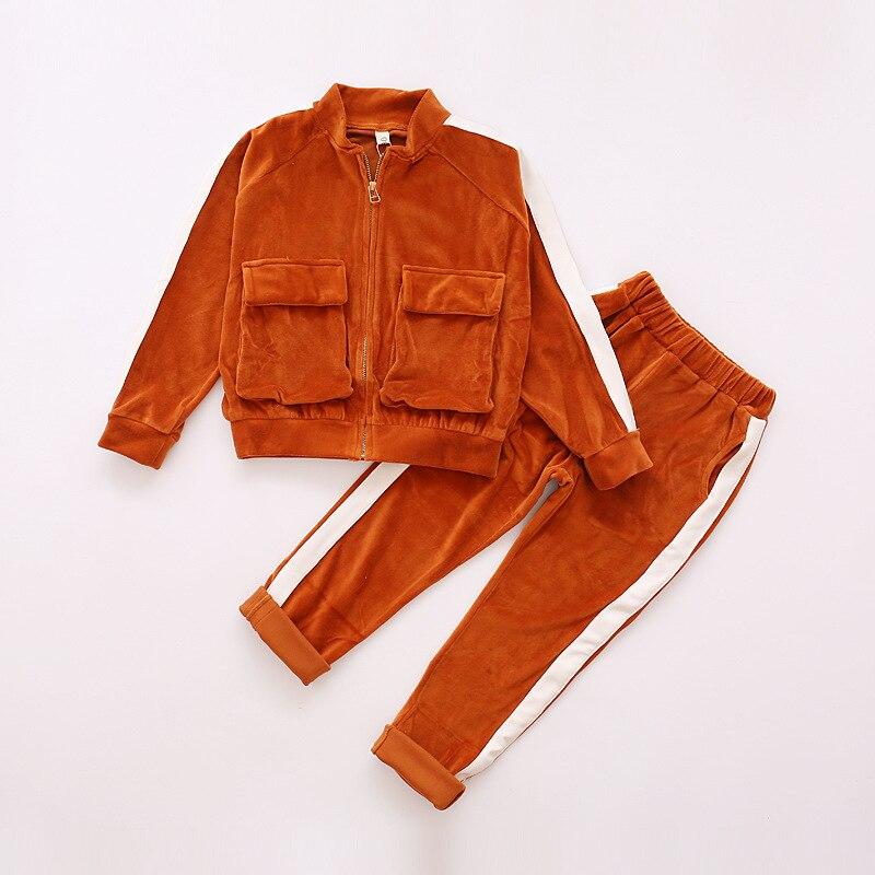 Girls Sports Suit Winter Children Long Sleeve Hoodies Vest Sweatshirt trousers Kids Girl Clothing Set 3 Pieces Warm Thick Suits round neck long sleeve 3d coins print sweatshirt