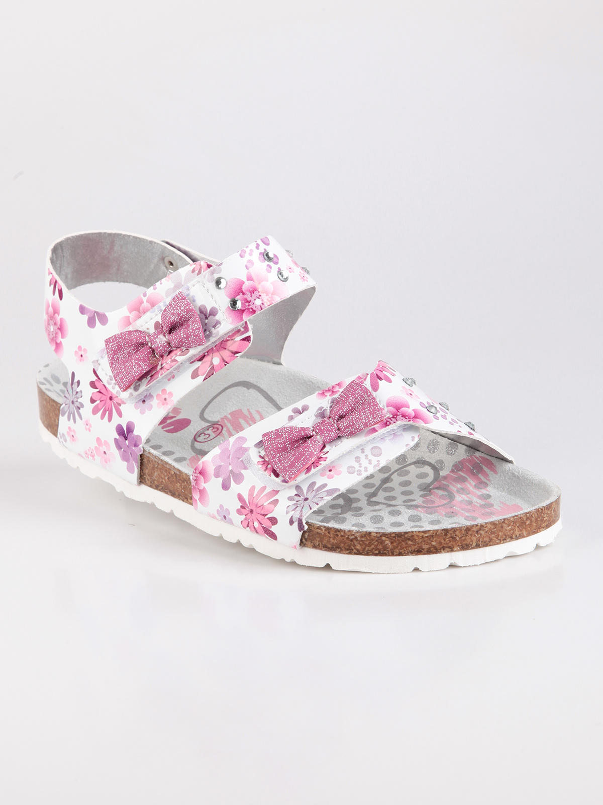ACE Open-toed Sandals With Print Flowers And Rhinestone