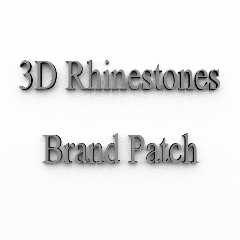 Custom Brand Logo Patch Iron On 3D Crystal Rhinestones Sticker /Contact Customer Service To Get List