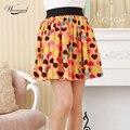 2017 women's new pleated skirt sweet girl vintage dot heart Printing tutu skirts chiffon mini skirt Candy colors SK-018