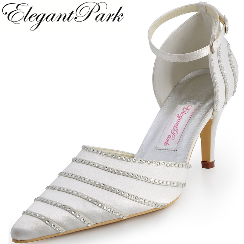 Shoes Woman EP31013 Ivory High Heel Peep Toe Pumps Satin Rhinestones Women Prom Party Pumps  Bridal Wedding Shoes 2015 unique ivory pearl rhinestone wedding dress shoes peep toe high heeled bridal shoes waterproof woman party prom shoes