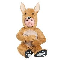 Delightful Infant Baby Kangaroo Costume Soft Cuddle Plush Hooded Onesie Coolest Little Animal Dress Up Newborn
