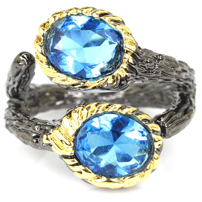 Jewelry & Accessories Considerate 6.5# Vintage Paris Blue Topaz Shecrown Womans Wedding Black Gold Silver Ring 24x20mm A Complete Range Of Specifications