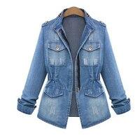 Plus Size 5XL Denim Jackets For Women Slim Washed Vintage Jeans Autumn Coats American Apparel Jaqueta
