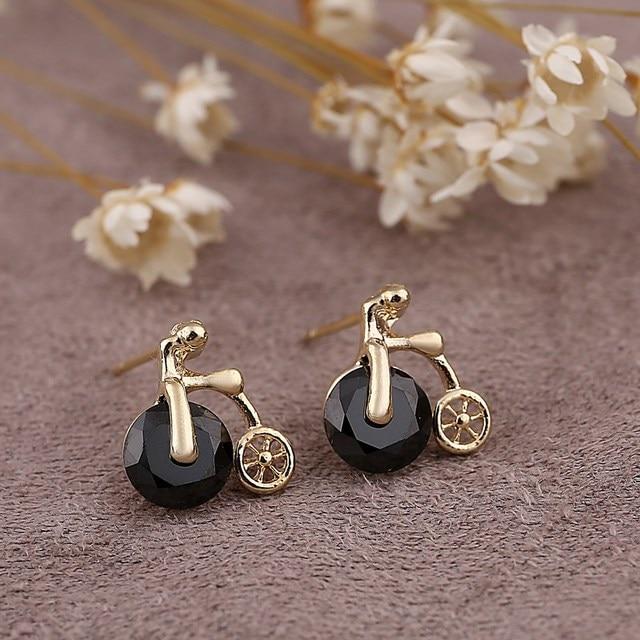 Vintage Style Black Bike Design Stud Earring For Best Fashion Wedding Jewelry Zinc Alloy Cute