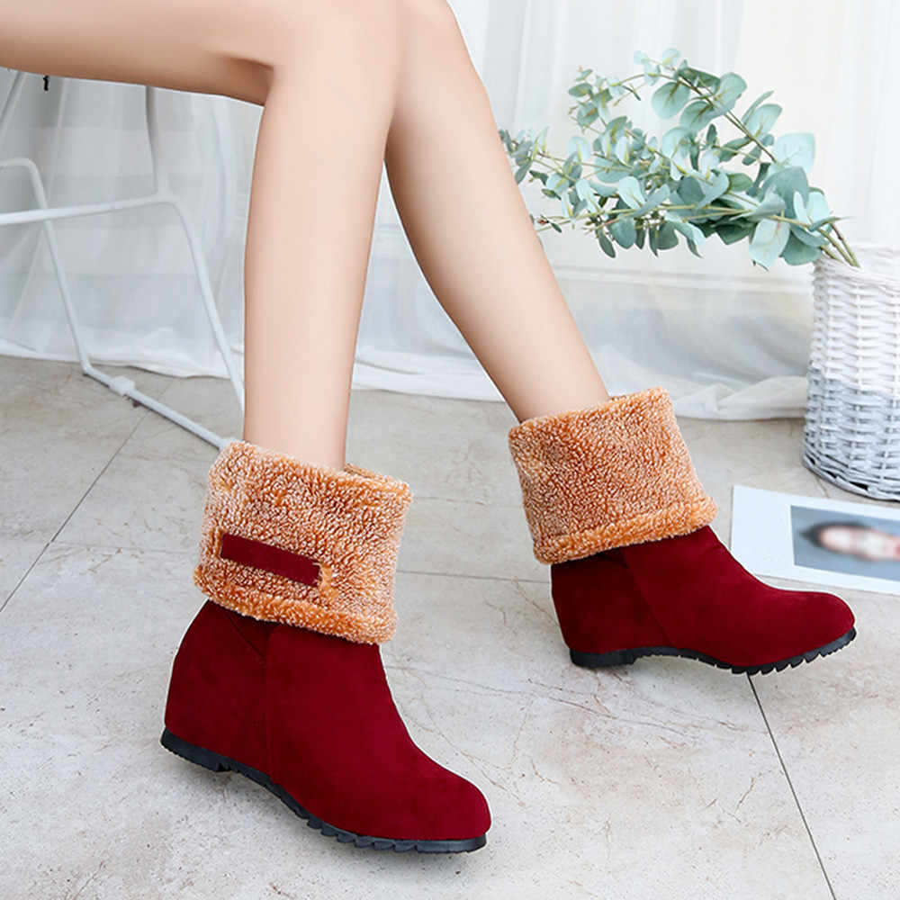 a790c75d99b8 Women's Winter Snow Boot Warm Fur Short Boots Lady Fashion Flat Heels  Outdoor Skiing Shoes Suede Slip On Botas Mujer Mid-Calf